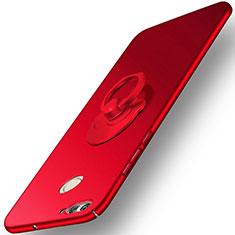 Huawei Nova 2 Plus用ハードケース プラスチック 質感もマット アンド指輪 ファーウェイ レッド