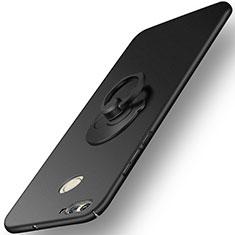 Huawei Nova 2 Plus用ハードケース プラスチック 質感もマット アンド指輪 ファーウェイ ブラック