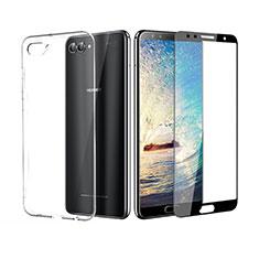 Huawei Nova 2S用極薄ソフトケース シリコンケース 耐衝撃 全面保護 クリア透明 アンド液晶保護フィルム ファーウェイ ブラック