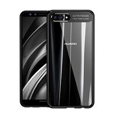 Huawei Nova 2S用ハイブリットバンパーケース クリア透明 プラスチック 鏡面 F01 ファーウェイ ブラック