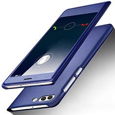 Huawei Nova 2S用手帳型 レザーケース スタンド ファーウェイ ネイビー