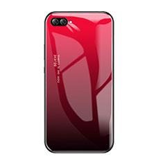 Huawei Nova 2S用ハイブリットバンパーケース プラスチック 鏡面 虹 グラデーション 勾配色 カバー ファーウェイ レッド