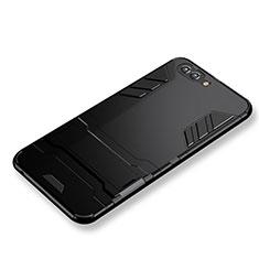 Huawei Nova 2S用ハイブリットバンパーケース スタンド プラスチック 兼シリコーン ファーウェイ ブラック