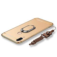 Huawei Nova 3e用ケース 高級感 手触り良い メタル兼プラスチック バンパー アンド指輪 亦 ひも ファーウェイ ゴールド