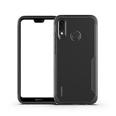 Huawei Nova 3e用ハイブリットバンパーケース クリア透明 プラスチック 鏡面 カバー M01 ファーウェイ ブラック