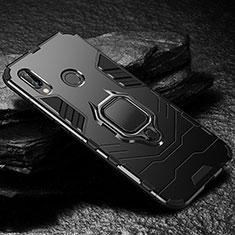 Huawei Nova 3e用ハイブリットバンパーケース スタンド プラスチック 兼シリコーン カバー A03 ファーウェイ ブラック