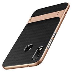 Huawei Nova 3e用ハイブリットバンパーケース スタンド プラスチック 兼シリコーン W01 ファーウェイ ゴールド・ブラック
