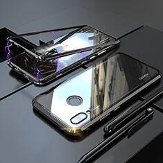 Huawei Nova 3e用ケース 高級感 手触り良い アルミメタル 製の金属製 360度 フルカバーバンパー 鏡面 カバー ファーウェイ ブラック