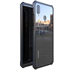 Huawei Nova 3e用ケース 高級感 手触り良い アルミメタル 製の金属製 360度 フルカバーバンパー 鏡面 カバー M01 ファーウェイ ブラック