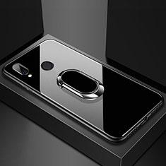 Huawei Nova 3e用ハイブリットバンパーケース プラスチック 鏡面 カバー アンド指輪 マグネット式 ファーウェイ ブラック