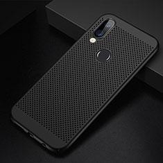 Huawei Nova 3e用ハードケース プラスチック メッシュ デザイン カバー ファーウェイ ブラック