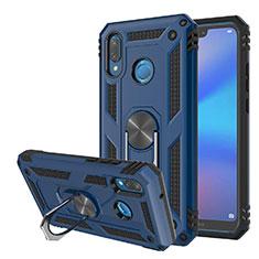 Huawei Nova 3e用ハイブリットバンパーケース スタンド プラスチック 兼シリコーン カバー マグネット式 ファーウェイ ネイビー