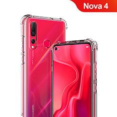 Huawei Nova 4用極薄ソフトケース シリコンケース 耐衝撃 全面保護 クリア透明 T05 ファーウェイ クリア