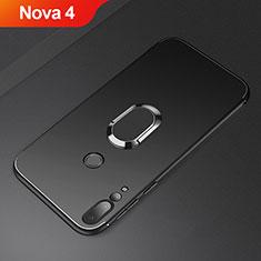 Huawei Nova 4用極薄ソフトケース シリコンケース 耐衝撃 全面保護 アンド指輪 マグネット式 バンパー A01 ファーウェイ ブラック