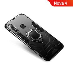 Huawei Nova 4用ハイブリットバンパーケース プラスチック アンド指輪 兼シリコーン カバー ファーウェイ ブラック