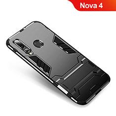 Huawei Nova 4用ハイブリットバンパーケース スタンド プラスチック 兼シリコーン カバー ファーウェイ ブラック