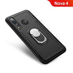 Huawei Nova 4用ハイブリットバンパーケース プラスチック アンド指輪 兼シリコーン カバー A01 ファーウェイ ブラック