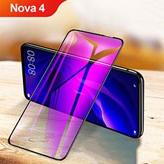 Huawei Nova 4用強化ガラス フル液晶保護フィルム アンチグレア ブルーライト F03 ファーウェイ ブラック