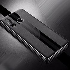 Huawei Nova 4e用シリコンケース ソフトタッチラバー レザー柄 ファーウェイ ブラック