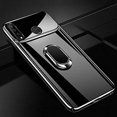 Huawei Nova 4e用ハードケース プラスチック 鏡面 360度 フルカバー アンド指輪 マグネット式 ファーウェイ ブラック
