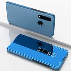 Huawei Nova 4e用手帳型 レザーケース スタンド 鏡面 カバー ファーウェイ ネイビー