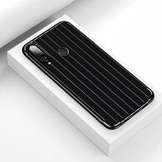 Huawei Nova 4e用シリコンケース ソフトタッチラバー ライン カバー C01 ファーウェイ ブラック