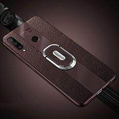 Huawei Nova 4e用シリコンケース ソフトタッチラバー レザー柄 アンド指輪 マグネット式 T03 ファーウェイ ブラウン