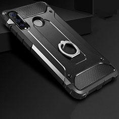 Huawei Nova 4e用ハイブリットバンパーケース プラスチック アンド指輪 兼シリコーン カバー H01 ファーウェイ ブラック