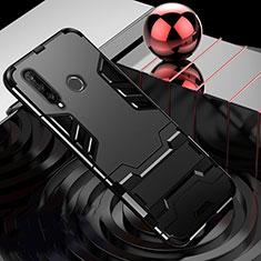 Huawei Nova 4e用ハイブリットバンパーケース スタンド プラスチック 兼シリコーン カバー R01 ファーウェイ ブラック