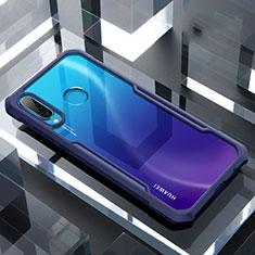 Huawei Nova 4e用ハイブリットバンパーケース クリア透明 プラスチック 鏡面 カバー H01 ファーウェイ ネイビー
