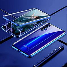 Huawei Nova 5用ケース 高級感 手触り良い アルミメタル 製の金属製 360度 フルカバーバンパー 鏡面 カバー T04 ファーウェイ ネイビー