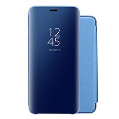 Huawei Nova 5用手帳型 レザーケース スタンド 鏡面 カバー ファーウェイ ネイビー