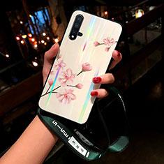 Huawei Nova 5用ハイブリットバンパーケース プラスチック 鏡面 花 カバー ファーウェイ ピンク