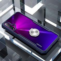 Huawei Nova 5用360度 フルカバーハイブリットバンパーケース クリア透明 プラスチック 鏡面 アンド指輪 マグネット式 ファーウェイ ネイビー