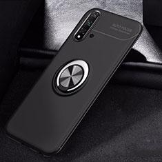Huawei Nova 5用極薄ソフトケース シリコンケース 耐衝撃 全面保護 アンド指輪 マグネット式 バンパー ファーウェイ ブラック