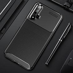 Huawei Nova 5用シリコンケース ソフトタッチラバー ツイル カバー ファーウェイ ブラック