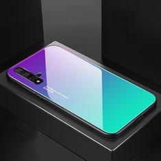 Huawei Nova 5用ハイブリットバンパーケース プラスチック 鏡面 虹 グラデーション 勾配色 カバー ファーウェイ シアン