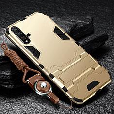 Huawei Nova 5用ハイブリットバンパーケース スタンド プラスチック 兼シリコーン カバー ファーウェイ ゴールド