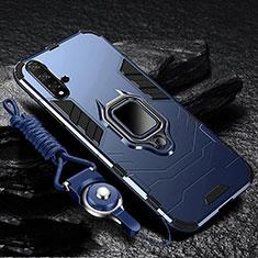 Huawei Nova 5用ハイブリットバンパーケース スタンド プラスチック 兼シリコーン カバー マグネット式 ファーウェイ ネイビー