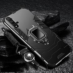 Huawei Nova 5用ハイブリットバンパーケース スタンド プラスチック 兼シリコーン カバー マグネット式 ファーウェイ ブラック
