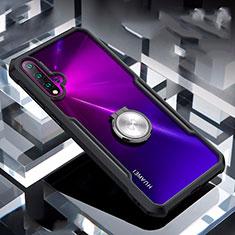 Huawei Nova 5 Pro用360度 フルカバーハイブリットバンパーケース クリア透明 プラスチック 鏡面 アンド指輪 マグネット式 ファーウェイ ブラック