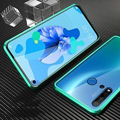 Huawei Nova 5i用ケース 高級感 手触り良い アルミメタル 製の金属製 360度 フルカバーバンパー 鏡面 カバー T03 ファーウェイ シアン
