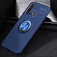 Huawei Nova 5i用極薄ソフトケース シリコンケース 耐衝撃 全面保護 アンド指輪 マグネット式 バンパー A01 ファーウェイ ネイビー