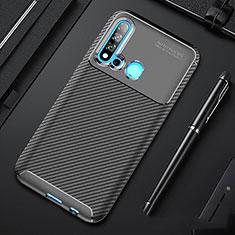Huawei Nova 5i用シリコンケース ソフトタッチラバー ツイル カバー ファーウェイ ブラック