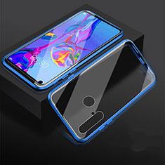 Huawei Nova 5i用ケース 高級感 手触り良い アルミメタル 製の金属製 360度 フルカバーバンパー 鏡面 カバー ファーウェイ ネイビー