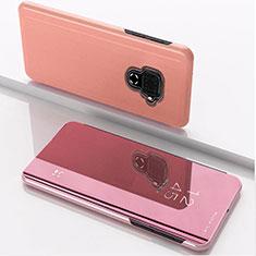 Huawei Nova 5i Pro用手帳型 レザーケース スタンド 鏡面 カバー ファーウェイ ローズゴールド