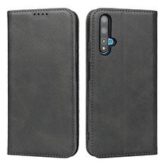 Huawei Nova 5T用手帳型 レザーケース スタンド カバー ファーウェイ ブラック