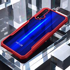 Huawei Nova 5T用ハイブリットバンパーケース クリア透明 プラスチック 鏡面 カバー ファーウェイ レッド