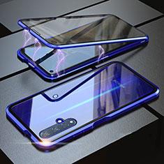 Huawei Nova 5T用ケース 高級感 手触り良い アルミメタル 製の金属製 360度 フルカバーバンパー 鏡面 カバー ファーウェイ ネイビー
