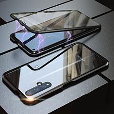Huawei Nova 5T用ケース 高級感 手触り良い アルミメタル 製の金属製 360度 フルカバーバンパー 鏡面 カバー ファーウェイ ブラック